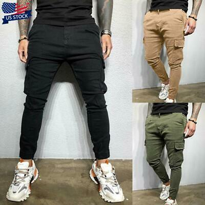 $13.99 • Buy USA Mens Cargo Combat Work Trousers Casual Pocket Joggers Bottoms Jogging Pants