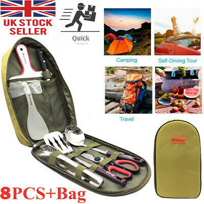 £23.59 • Buy Camping Utensil Outdoor Cooking Accessories 8pc Set Travel Cookware In Bag