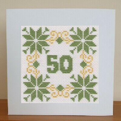 £6.95 • Buy 50th Birthday Card - Cross Stitch Kit - Green And Yellow