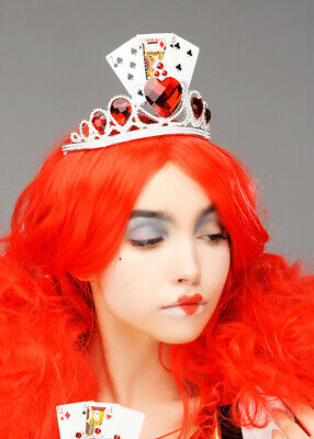 £13.99 • Buy Queen Of Hearts Style Fancy Dress Playing Card Fairytale Tiara Silver & Red