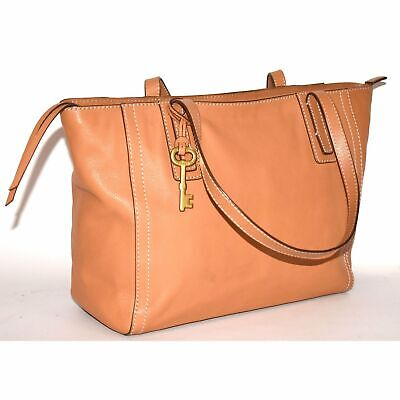 £50.37 • Buy FOSSIL LARGE Tan BROWN Leather EMMA Tote Carryall Laptop Bag Purse