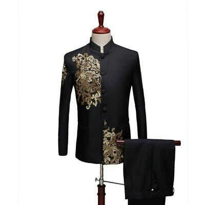 $76.16 • Buy Mens Formal Dress Costume 2PCS Suit Blazer Chinese Style Embroidered Flower 2021