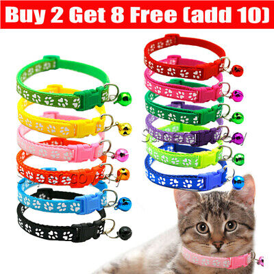 £2.41 • Buy Cute Paw Print Adjustable Bell Pet Collar Cat Small Dog Kitten Puppy Colourful