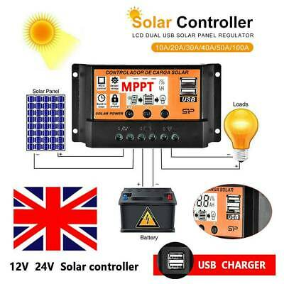 £9.19 • Buy 10/20/50/100A LCD MPPT Solar Panel Battery Regulator Charge Controller Dual USB