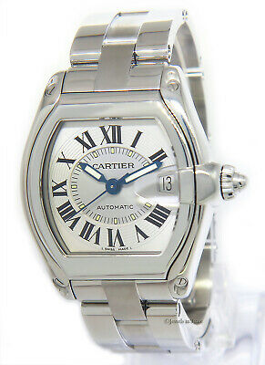 $4250 • Buy Cartier Roadster Steel Silver Dial Mens Automatic Watch Box 2510