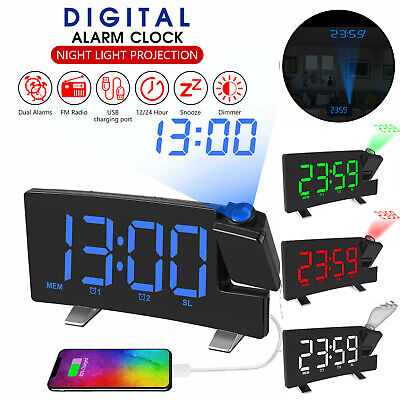 £16.84 • Buy LED Digital Projection Alarm Clock FM Radio Snooze Dimmer Ceiling Projector