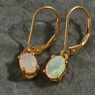 £20.99 • Buy Opal 925 Sterling Silver 14ct Gold/Platinum Over Lever Back Dangle Drop Earrings