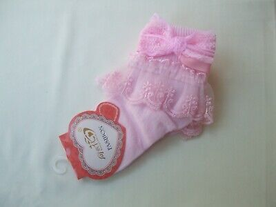 £3.75 • Buy Girls Bridesmaid Holy Communion Frill With Pink Bow Ankle Socks Pink 4-6 New
