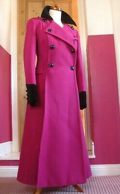 £144.99 • Buy M&S TWIGGY Pink Long TRENCH COAT 14 12 Victorian Riding Fit Flare Military Great