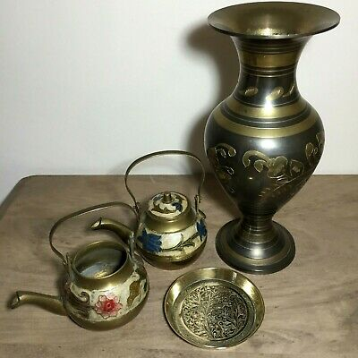 £14.99 • Buy Vintage Indian Brass Lot Of Vase 2 Kettle Pots & Plate Painted Etched Decorative