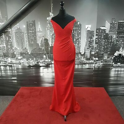 £31.99 • Buy Lurex Fishtail Dress  (Red-Black-Size 12) Prom, Ball, Awards, Cruise, Pageant,