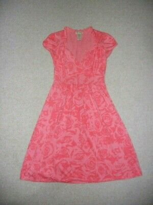 AU6.85 • Buy Womens Dress-ONE CLOTHING-pink Floral Stretch Knit Empire Waist Cap Sleeve-S
