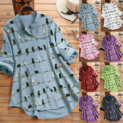 AU25.99 • Buy Plus Size Womens Cat Printed Long Sleeve Shirts Tops Ladies Casual Loose Blouse