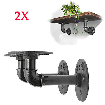 £13.25 • Buy 2X Pipe Shelf Brackets Industrial Iron Rustic Wall Floating Shelves Supports DIY