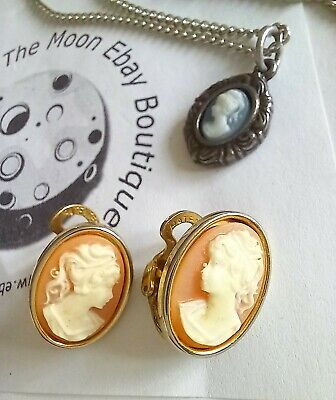 £9.99 • Buy VINTAGE Clip On Cameo Earrings &  Mini Cameo Necklace Costume Jewellery (Free)