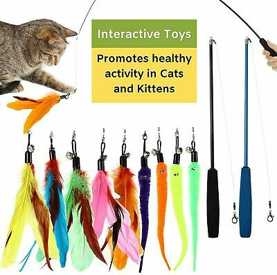 AU13.95 • Buy 10Pcs Kitten Toy Cat Feather Bell Wand Teaser Rod Interactive Play Pet Toys AU