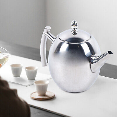 £14.23 • Buy 1.5L Stainless Steel Metal Teapot Tea Coffee Cafe Drink Kitchen Lid Pot Catering