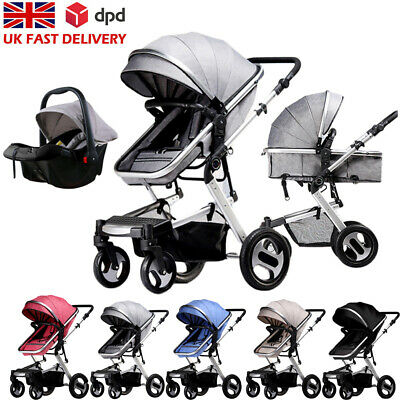 View Details 3 In 1 Baby Pram Pushchair Stroller From Birth With Car Seat Travel System Buggy • 188.90£