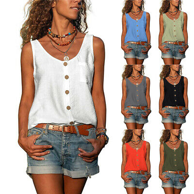 £7.49 • Buy Womens Baggy Blouse Sleeveless Tops Tank Vest Plus Size Ladies Casual T Shirt UK