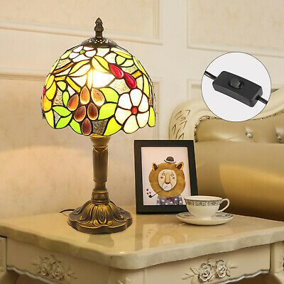 £19.99 • Buy Tiffany Style Table Lamp Handcrafted Art Stained Glass Bedside Desk Lamps Light