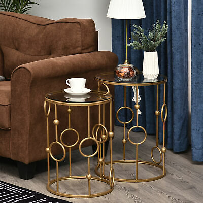 £69.99 • Buy Round Coffee Tables Set Of 2, Gold Nesting Side End Tables W/ Tempered Glass Top