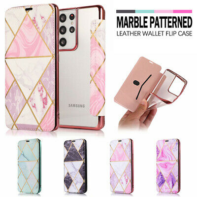AU12.99 • Buy For Samsung S20 FE S21 Ultra S10 S9 S8 + Marble Case Leather Wallet Flip Cover