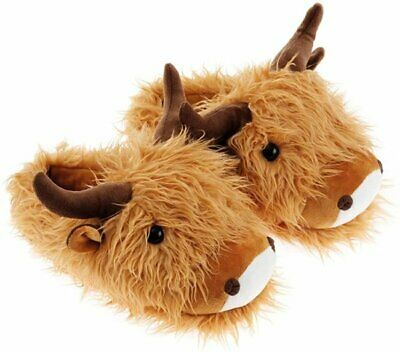 £19.75 • Buy Aroma Home HIGHLAND COW Slippers FUZZY FRIENDS Brown UK Size 4 To 7