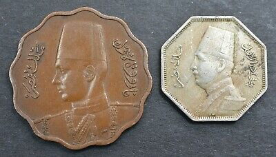 £11.99 • Buy Old Egyptian Coins ~ 1943 10 Milliemes &  1933 2 1/2 Milliemes   Egypt