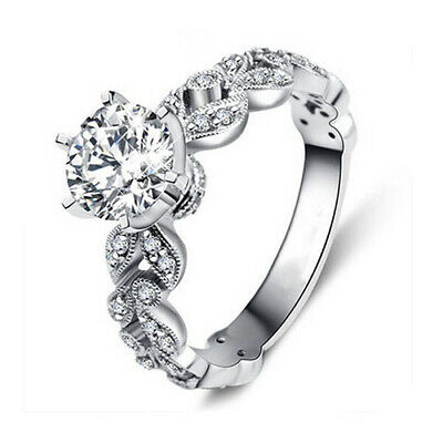 £2.17 • Buy Lady Trendy 18k Gold Plated Cubic Zirconia Ring Wedding Engagement Party Bague