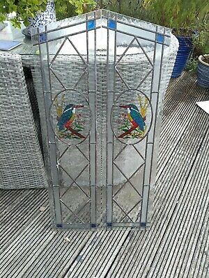 £50 • Buy VINTAGE STAINED GLASS WINDOW Hand Painted Kingfisher Decoration Leaded Panel