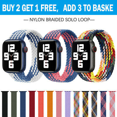 AU11.89 • Buy For Apple Watch Band Series 7 6 5 4 SE Nylon Braided Solo Loop Strap 41 42 44 45