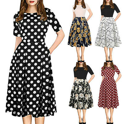 AU24.43 • Buy Women Vintage 1950S Pockets Puffy Swing Skater Party Evening Dress Home House AU