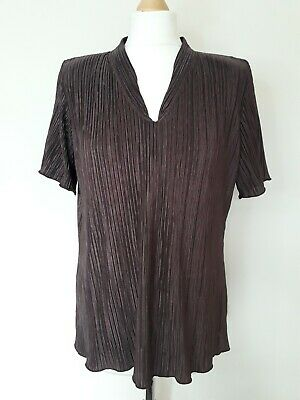 £2 • Buy Forever By Michael Gold Size L Brown Pleated V-neck Blouse With Shoulder Pads