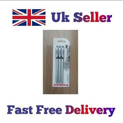£1.69 • Buy Zebra Classic Silver Black Smooth Ink Ballpoint Pens- Pack Of 3 Pens (Z-grip)
