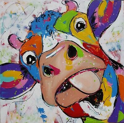 £8.99 • Buy Unframed CANVAS PRINT Cow Abstract WALL ART MEDIUM 20x20  Square