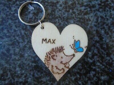 £3.15 • Buy Hedgehog Keyring Personalised Engraved ANY NAME Wooden Heart Birthday Pet Gift