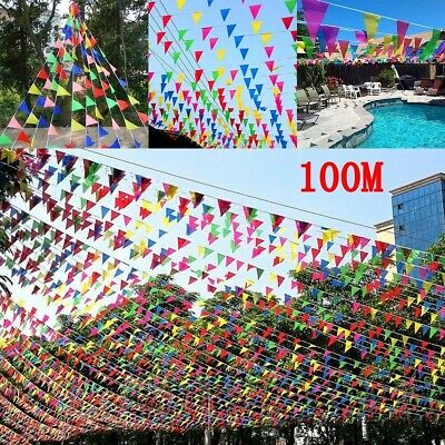 £6.89 • Buy 100M Colourful Triangle Flag Bunting Banner Pennant Festival Party Garden Decor