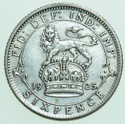 £4 • Buy 1925 George V Sixpence, British Silver Coin Gvf+