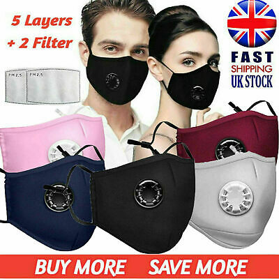 £0.99 • Buy Breathable Cotton 5 Layered Protective Face Mask Washable Reusable Comfort PM2.5