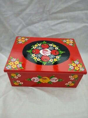 £25 • Buy Red Roses And Castles Hand Painted Wooden Jewelry / Vanity Box Barge Ware #01