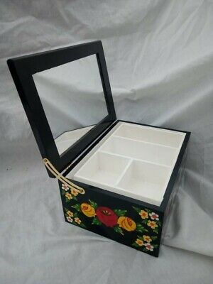 £25 • Buy Black Roses And Castles Hand Painted Wooden Jewelry / Vanity Box Barge Ware #01