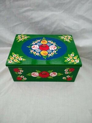 £25 • Buy Green Roses And Castles Hand Painted Wooden Jewelry / Vanity Box Barge Ware #01