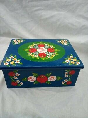 £25 • Buy Blue Roses And Castles Hand Painted Wooden Jewelry / Vanity Box Barge Ware #01