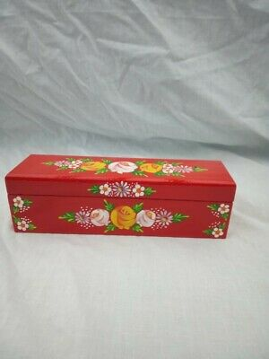 £8 • Buy Red Roses And Castles Hand Painted Wooden Pencil / Pen Box Barge Ware #01