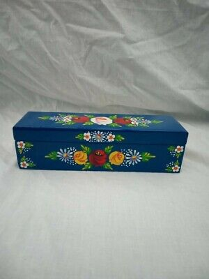 £8 • Buy Blue Roses And Castles Hand Painted Wooden Pencil / Pen Box Barge Ware #01