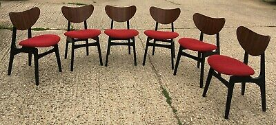 £120 • Buy Vintage Retro 6 G Plan Chairs Butterfly Black Red Leaf Pattern E Gomme E-Gomme