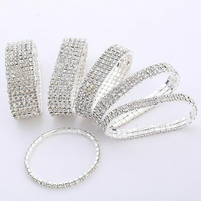 £4.50 • Buy Sparkle Stretchy Stretch  Silver Plated Diamante Tennis Bling Chain Bracelet UK