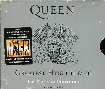 £7 • Buy Queen / Greatest Hits 1, 2 & 3 - The Platinum Collection - 3xCD + Slipcase