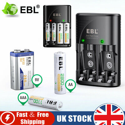 £8.59 • Buy EBL Multi Slot Mains Battery Charger For AA AAA /9V Sizes Rechargeable Batteries