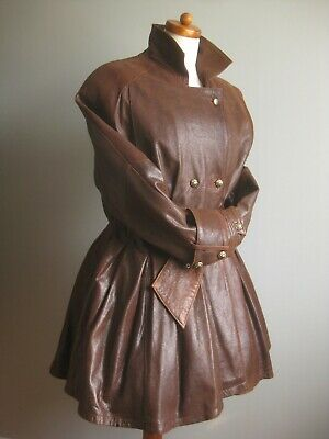 £374.99 • Buy Vintage Leather COAT JACKET 10 12 14 Victorian Fit Flare Riding Military Dom